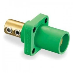 Hubbell Male Panel Mount - Double Set Screw - Green