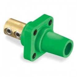 Hubbell Female Panel Mount - Double Set Screw - Green