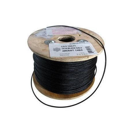 1/8in. Black Aircraft Cable - 7 x 19 - 500ft/reel
