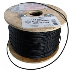 1/8in. Black Aircraft Cable - 7 x 19 - 1000ft/reel
