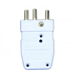 Lex 20 Amp 125 VAC Stage Pin Male Inline Connector - White