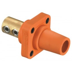Hubbell Female Panel Mount - Double Set Screw - Orange
