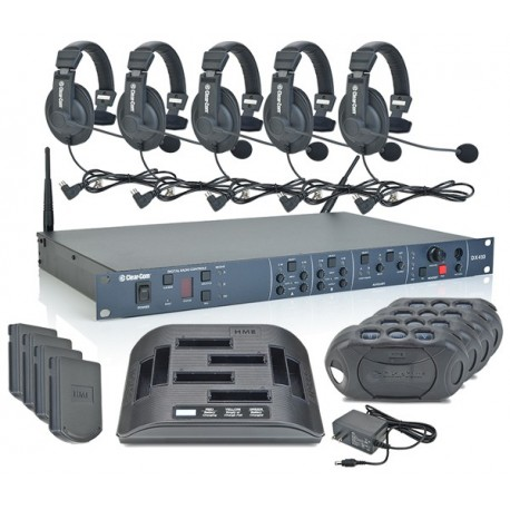 clear com 4 up dx410 belt pack system with cc 15 headsets stage