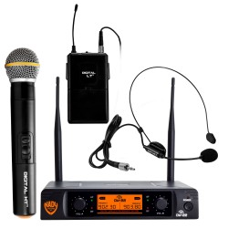 Nady Dual Digital Wireless Combo Mic - 1 Handheld Mic/1 Bodypack/1 Headset