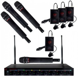Nady 4 Wireless Handheld Mics and 4 Bodypacks with Lavalier Mics