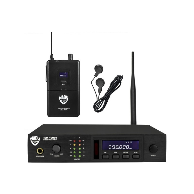 nady uhf 100 channel wireless pro in ear monitor system with earbuds stage lighting store. Black Bedroom Furniture Sets. Home Design Ideas