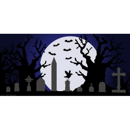 Apollo Halloween DesignScape - Graveyard with Bats