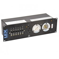 Lex 3RU Rack Mount Power Distribution, L21-30 In/Thru to (6) L21-30 and Duplexes