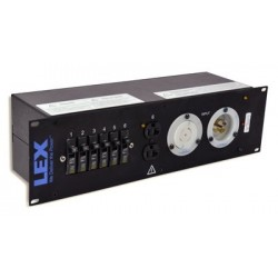 Lex 3RU Rack Mount Power Distribution, L21-30 In/Thru to (4) L5-30 and Duplexes