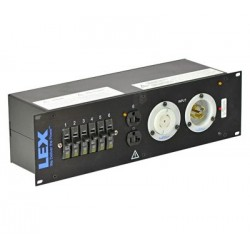 Lex 3RU Rack Mount Power Distribution, L21-30 In/Thru to (3) L5-30 and Duplexes