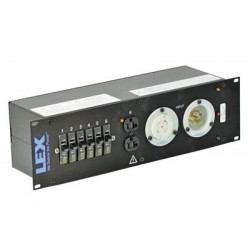 Lex 3RU Rack Mount Power Distribution, L21-30 In/Thru to (2) L5-30 and Duplexes