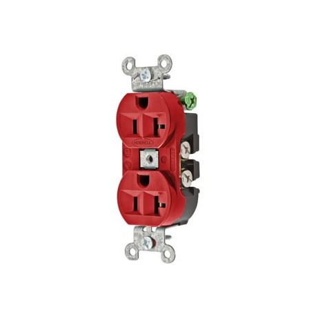 HUBBELL PRO 5-20R DUPLEX RECEPTACLE - RED