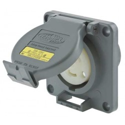 HUBBELL L5-20 RECEPTACLE WITH WATERTIGHT SAFETY SHROUD