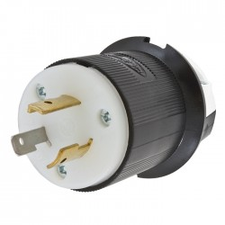 HUBBELL L5-20 MALE PLUG - BLACK & WHITE