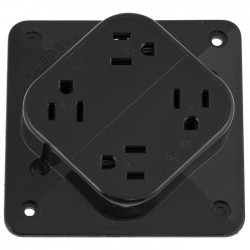 Hubbell 15A 4-IN-1 Receptacle - Black