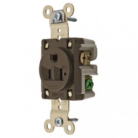 Hubbell 5-20 Single Receptacle - Brown