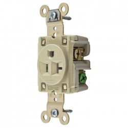 Hubbell 5-20 Single Receptacle - Ivory