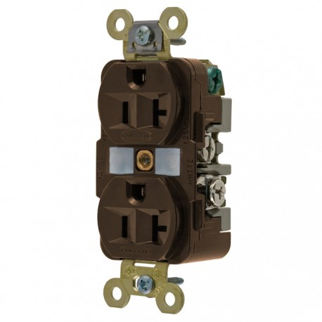 Hubbell 20A Duplex Receptacle - Brown