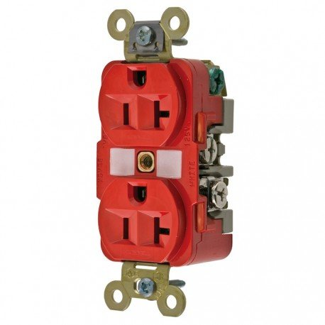 Hubbell 20A 125V Extra Heavy Duty Duplex Receptacle - Red