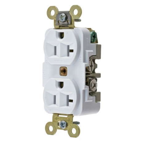 Hubbell 20A 125V Extra Heavy Duty Duplex Receptacle - White