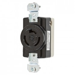 Hubbell Non-NEMA 20A Single Flush Receptacle - Back Wired