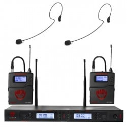 Nady Dual UHF Wireless System with HM-35 Headset