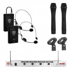 Nady 4-Channel UNF Wireless Headset and Handheld Microphone System