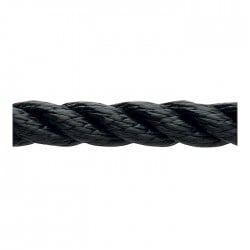 Marlow 3 Strand Polyester Traditional Rope - Diameter 10mm - Length 100m (Black)