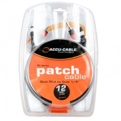 """Accu-Cable 12' RCA to Dual 1/4"""""""
