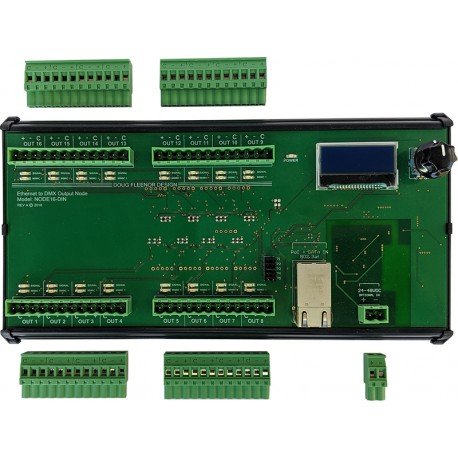 Doug Fleenor 16 Port Ethernet to DMX Interface - DIN-Rail Mounted in Junction Box
