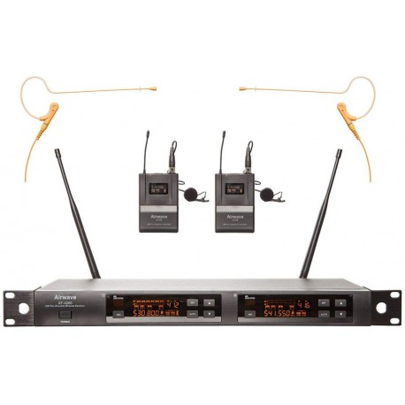 Airwave Technologies Wireless System Package with 2 Lavaliers and 2 Single Ear Wireless Headsets